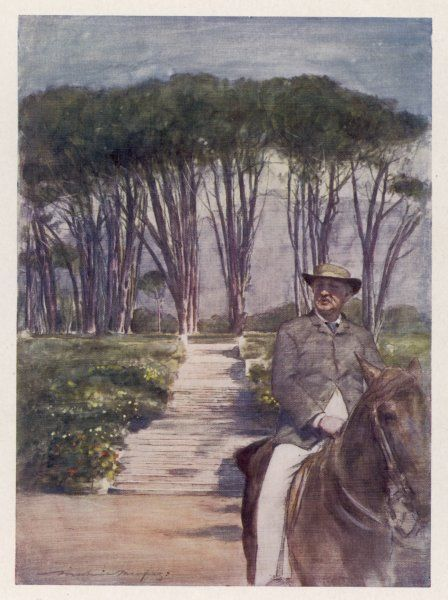 CECIL RHODES Statesman, entrepreneur and imperialist in South Africa, on horseback at his home at Grote Schuur, 1900