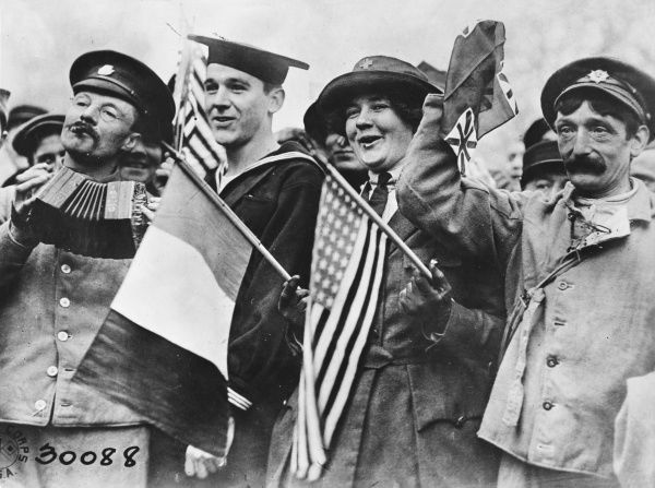 French and American soldiers celebrating victory at the end of the First World War