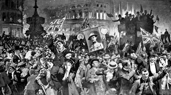 Illustration showing the crowd, filling every inch of Trafalgar Square, celebrating the news of the Relief of Mafeking, during the Boer War, 1900