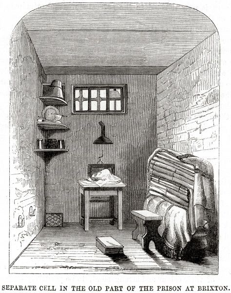 A separate cell at Brixton Prison. Date: 1862