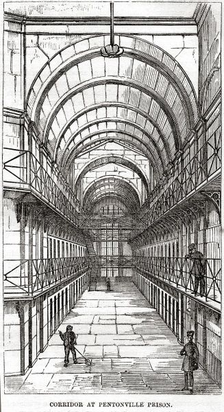 Cell wing at Pentonville Prison. Date: 1862
