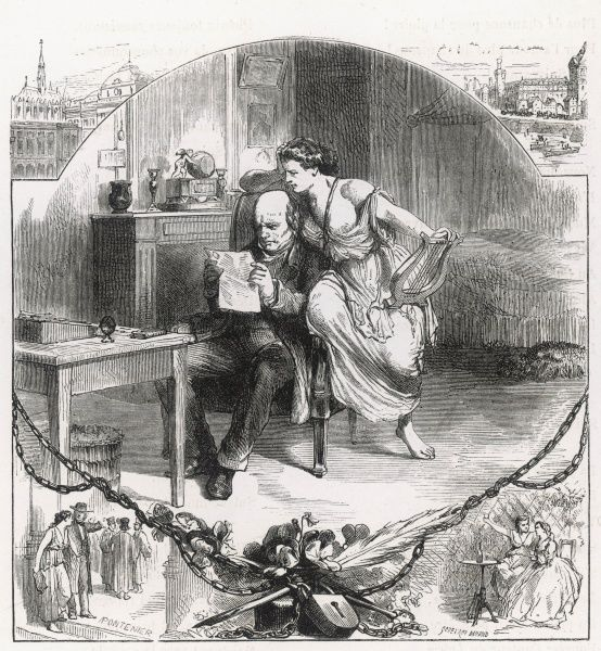 A French Republican writer whose work has been censored during the regime of Napoleon III receives the commiseration of his Muse Date: 1866