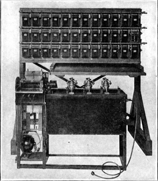 Counting and tabulating machines used in the 1911 census. Punched cards, where different combinations of holes represented a different fact on the census sheet were then fed into the counting and tabulating machines