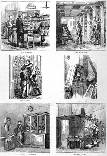 Series of sketches showing different departments of the Central Telegraph Establishment at the General Post Office in London