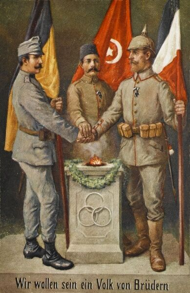 The Central Powers in World War One. Austri-Hungary, Turkey and Germany. Soldiers from each country stand before their flags and join hands in a show of unity. The German flag has, however been printed in error with the colouration of the French flag