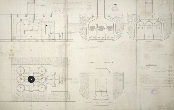Centrifugal marine engine and boilers, 500hp, side elevations and sections 5 January 1849 Date: 1849