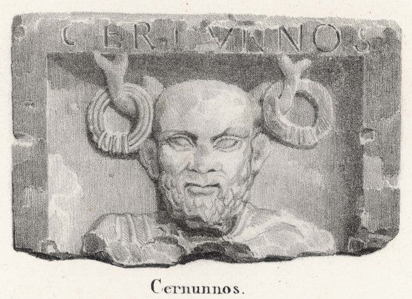 CERNUNNOS horned deity of fertility and abdundance, honoured by the Gauls and other Celtic peoples