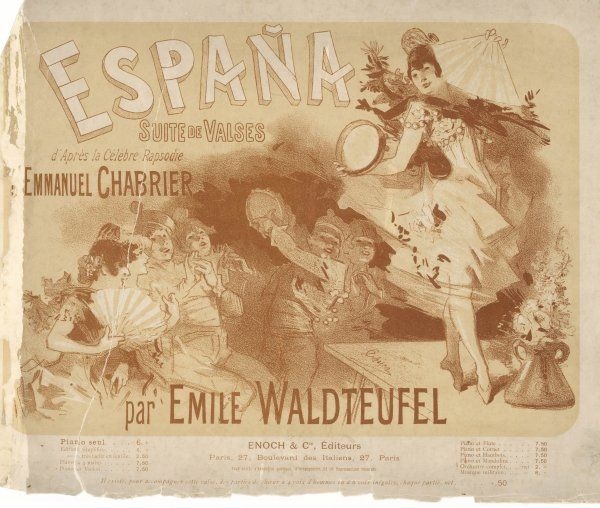 Emmanuel Chabrier's popular rhapsody 'Espana' transcribed for solo piano by Waldteufel
