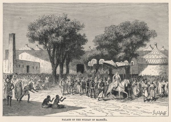 Massenya, Chad, Central Africa: a procession outside the Sultan's palace