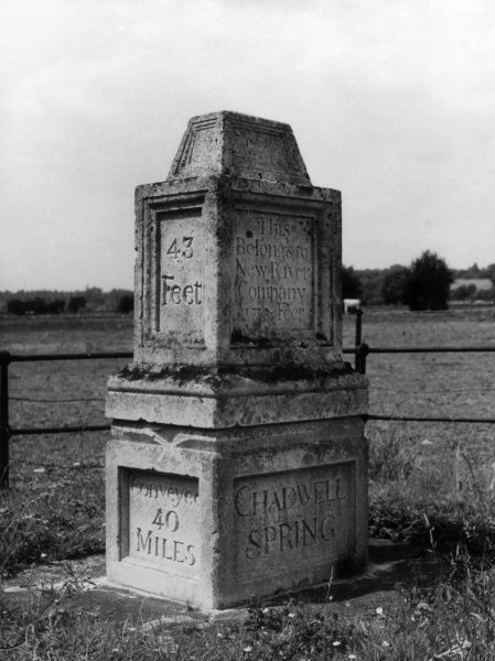 Chadwell Spring, near Ware, Hertfordshire, England, one of the sources of the New River. This splendid pillar marks the Spring, which opened in 1608. Date: 1930s
