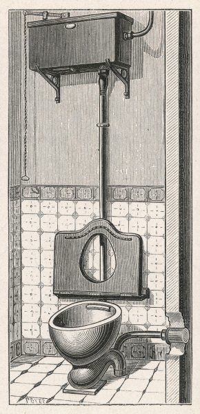 French water closet with chain flushing