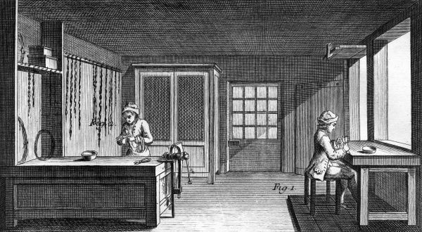 Two men at work in a chains workshop in the 18th century Date: Circa 1760