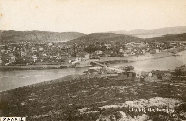Chalcis (or 'Chalkida'), Greece - the chief town of the island of Euboea, situated on the strait of the Evripos at its narrowest point as illustrated perfectly on this card. Date: circa 1910s