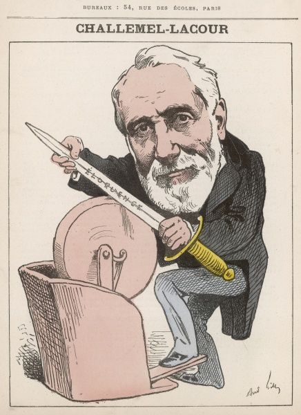 Paul-Armand Challemel-Lacour (1827-1896) French statesman, Republican, unsuccessful French ambassador at Bern and London, minister of foreign affairs in the Jules Ferry cabinet. A skilled orator, here sharpening his spear of 'eloquence&#39