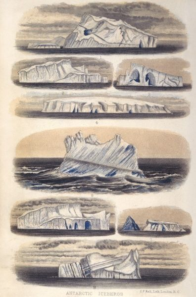 Icebergs observed in the Antarctic by Her Majesty's Research ship 'Challenger'. Date: 1874
