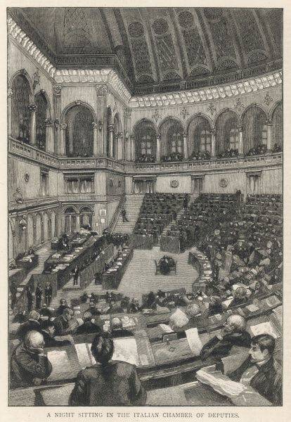 A night sitting of the Italian Chamber of Deputies, in Rome