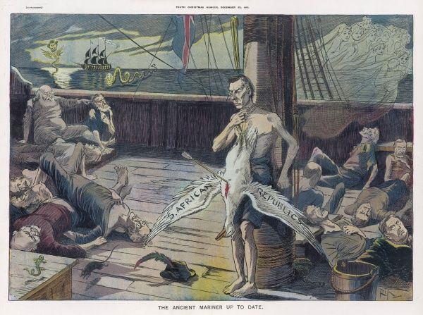 Joseph Chamberlain depicted as Coleridge's Ancient Mariner, with the albatross of the South African republics tied round his neck - as war breaks out with the Boers