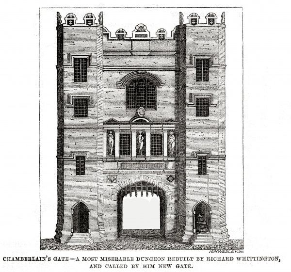 Chamberlain's gate at Newgate Prison, London. Date: 1862