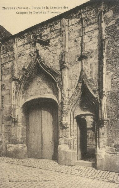 The rather wonderful gateway into the Chambers of the Counts of the Duchy of Nivernais, at Nevers, France. Nivernais became a Duchy in 1538
