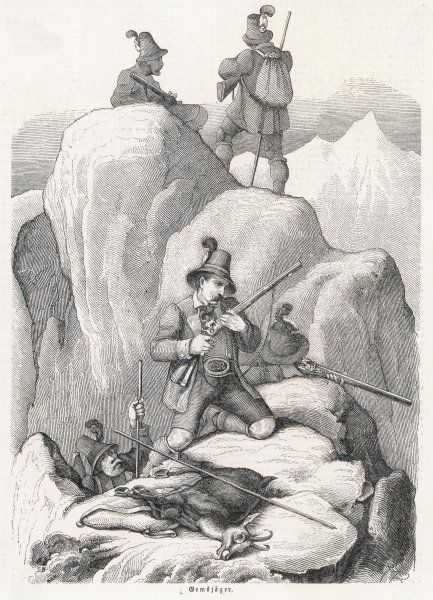 A group of Bavarian hunters survey the surrounding rocks for more animals to shoot. Note the iron-tipped poles which they use to help them move about the mountainside