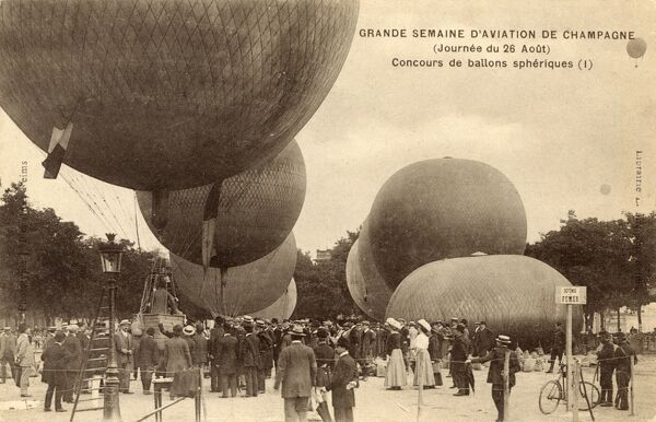 Champagne, France - Balloon Exhibition. There is a small sign in the foreground asking the crowds not to smoke!!! Date: circa 1910s