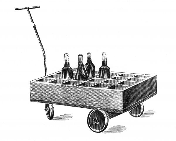 A three-wheeled trolley for transporting champagne, one of hundreds of different trucks and trolleys available in Slingsbys Patent Trucks List. 1910