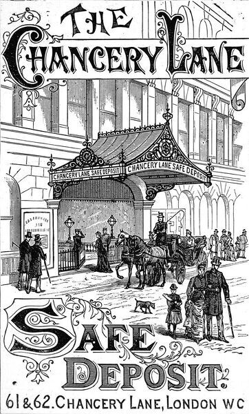 Engraved advertisement for 'The Chancery Lane Safe Deposit' which was situated at 61 & 62 Chancery Lane, London, in 1891