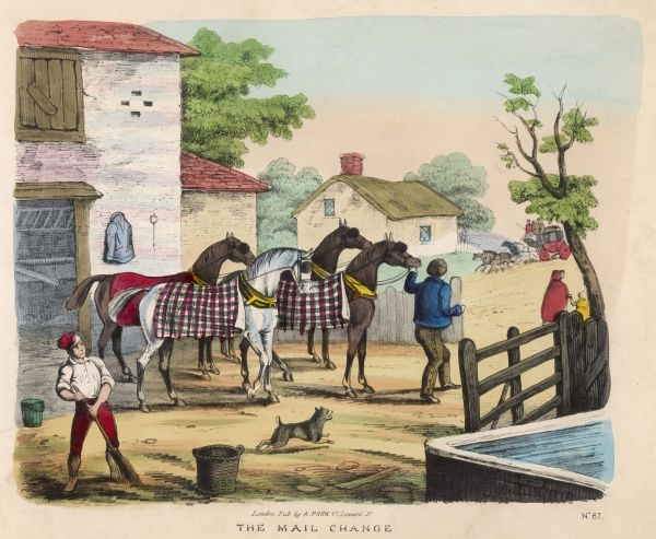 'The Mail Change' - at a posting inn, four fresh horses are brought out to replace those of the approaching mail coach