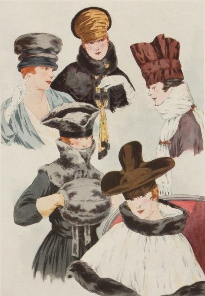 A selection of fashionable Parisian hats for autumn during the World War One period