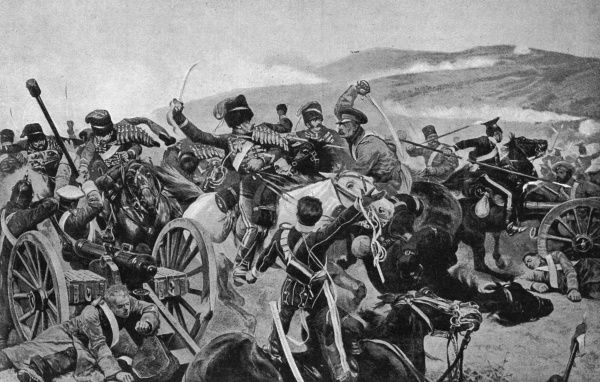 Romanticised illustration by R. Caton Woodville of the Charge of the Light Brigade at the Battle of Balaklava, Crimean War, reproduced as a coloured plate in 'Holly Leaves' in 1897. Date: 1897