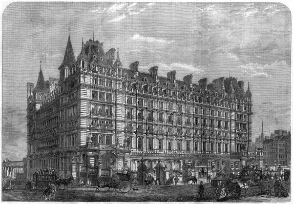 The newly completed Charing Cross station and hotel in Central London, seen from The Strand before the Eleanor Cross is installed. Date: 1864