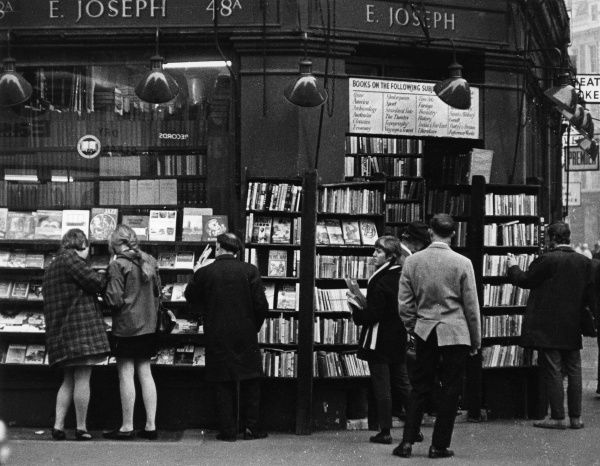 E. Joseph's second-hand bookshop, 48A Charing Cross Road, one of several bookshops which used to be a familiar sight in central London, but now gradually disappearing. Date: 1960s