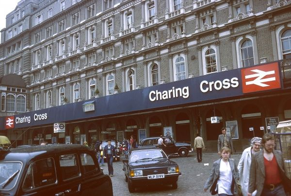 The exterior of Charing Cross railway station, central London (built 1864). Date: 1980