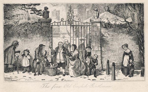 'The fine old English Gentleman' distributes winter charity to the poor at the gate of his manor house