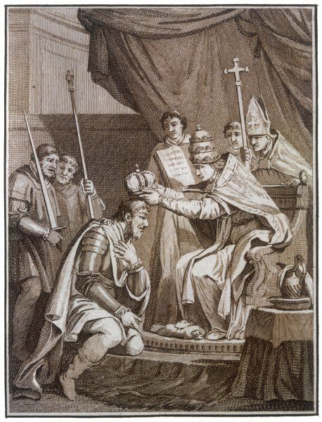 CHARLEMAGNE is crowned Emperor of the West by Pope Leo III at Rome