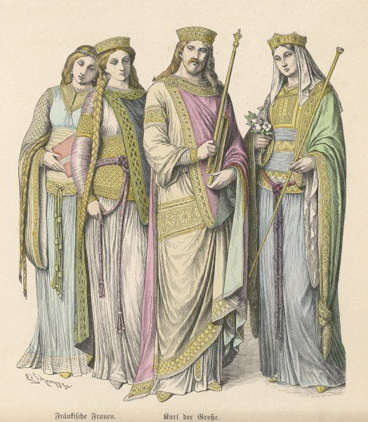 Charlemagne (Carolus Magnus. Karolus Magnus, Charles the Great), King of the Franks from 768, King of the Lombards from 774, and Emperor of the Romans from 800. Seen here with his Queen Hildegarde von Schwaben (753-783), and two ladies of the court