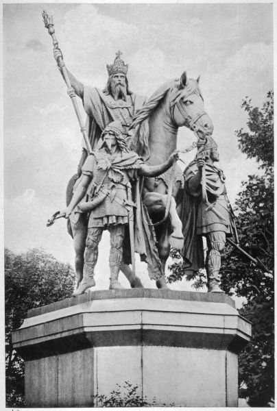 CHARLEMAGNE King of the Franks and Holy Roman Emperor: a statue by Rochet in front of Notre Dame, Paris