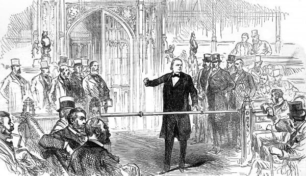Engraving showing Charles Bradlaugh MP (1833-1891) at the bar of the House of Commons in 1880