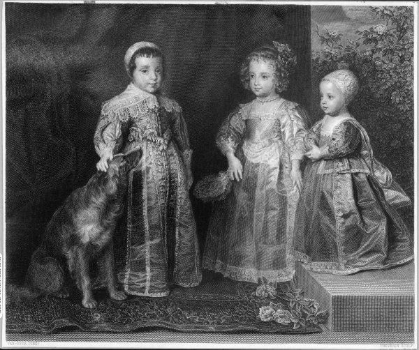 CHARLES I (1600 - 1649) Charles (later Charles II), Mary, James, and a large dog