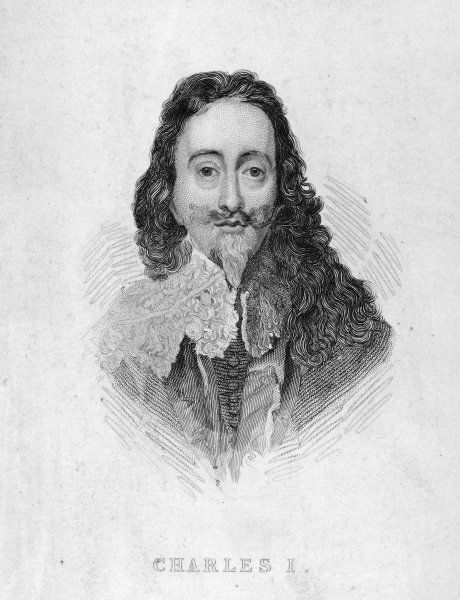 CHARLES I OF ENGLAND Full face, vignette portrait