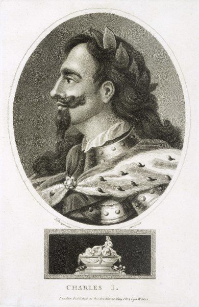 CHARLES I OF ENGLAND A commemorative portrait of the King, with his tomb below