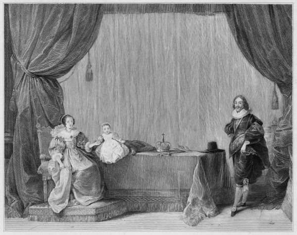 CHARLES I KING OF ENGLAND With Henrietta Maria and child