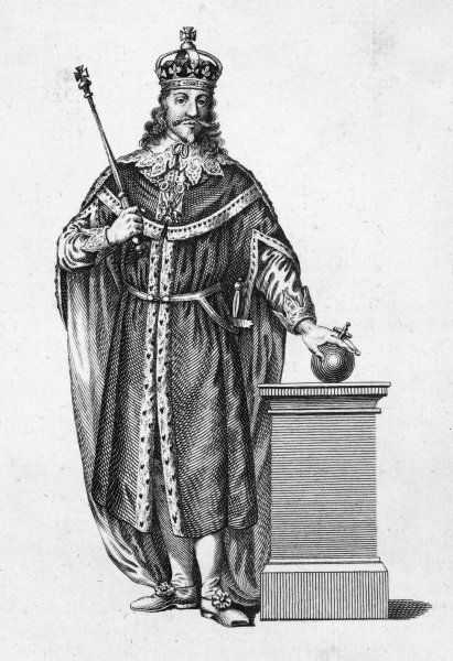 CHARLES I OF ENGLAND in full regalia
