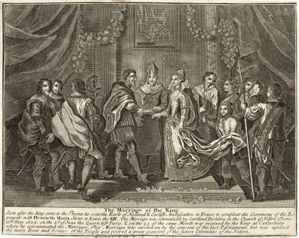 Charles I weds Henrietta Maria, sister of Louis XIII, in Notre Dame, Paris : cardinal Richelieu does the honours