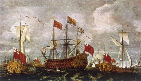 Charles II visits the Fleet in the Swim after the Battle of Solebay