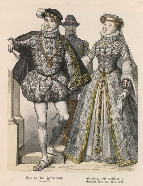 CHARLES IX, King of France with his wife, Elisabeth of Austria