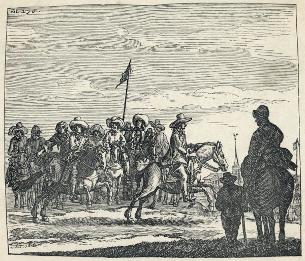 Charles II and Jane Lane pass a group of Roundheads on their ride to safety