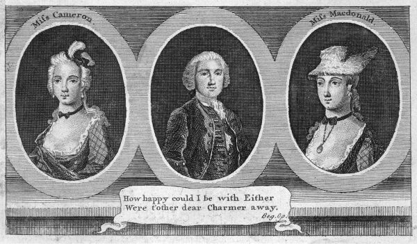 CHARLES STUART THE YOUNG PRETENDER Bonnie Prince Charlie with Jenny Cameron and Flora Macdonald Date: 1720 - 1788