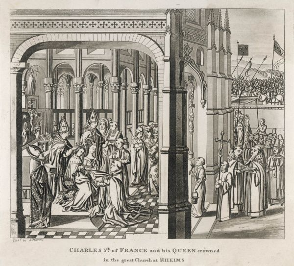 Charles V le Sage, and his wife Jeanne de Bourbon, are crowned at Reims