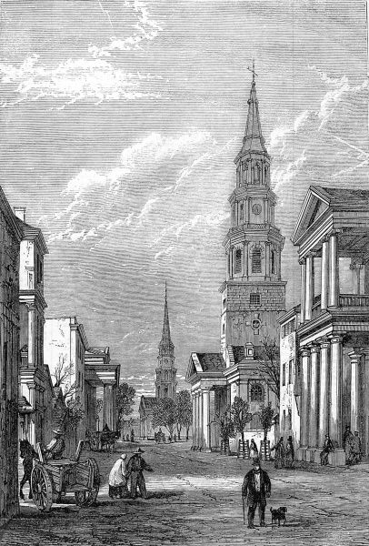 Engraving showing the principle church in Charleston, South Carolina, and the main street, 1861